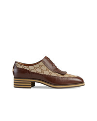 Gucci Leather And Gg Brogue Shoes