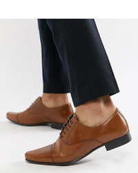ASOS DESIGN Wide Fit Oxford Shoes In Tan Leather With Toe Cap