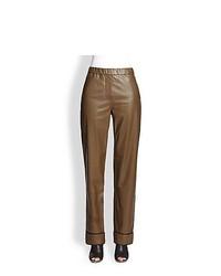 Brown Leather Pajama Pants