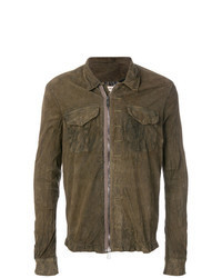 Brown Leather Shirt Jacket