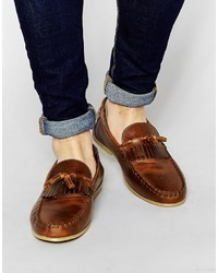 Asos Brand Tassel Loafers In Leather With Fringe