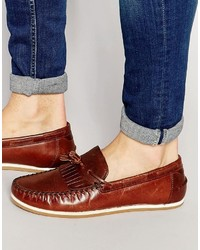 Asos Brand Tassel Loafers In Tan Leather