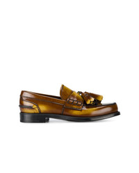 Prada Brown College Burnished Leather Loafers