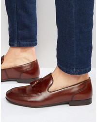 Red Tape Tassel Loafers In Brown Leather