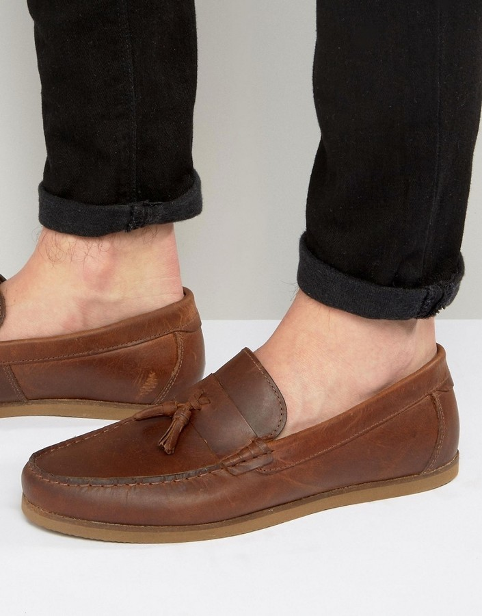 ASOS Loafers In Leather With Tassel And Gum Sole roJxoMoT