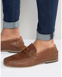 Asos Tassel Loafers In Tan Leather With Fringe And Natural Sole