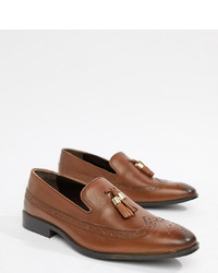 ASOS DESIGN Wide Fit Brogue Loafers In Tan Leather With Gold Tassel Detail