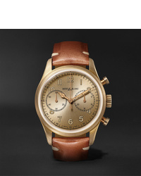 Montblanc 1858 Automatic Chronograph 42mm Bronze And Leather Watch Ref No 118223