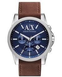 Armani Exchange Ax Chronograph Leather Strap Watch 45mm