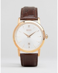 Hugo Boss Boss Slim Ultra Round Leather Watch In Brown
