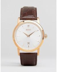 Hugo Boss Boss Slim Ultra Round Leather Watch In Brown