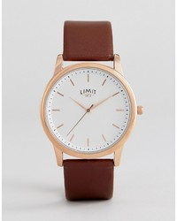 Limit Brown Faux Leather Watch With Wave Dial To Asos