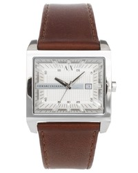 Armani Exchange Brown Leather Strap Watch Ax2204