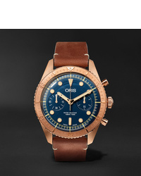 Oris Carl Brashear Chronograph 43mm Burnished Bronze And Leather Watch Ref No 01 774 7744 3185