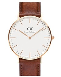 Daniel Wellington Classic St Mawes Leather Strap Watch 36mm Brown Rose Gold