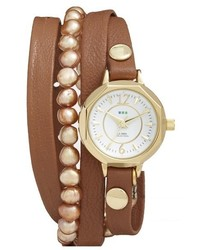 La Mer Collections Del Mar Leather Strap Wrap Watch 25mm
