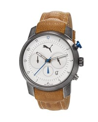 Puma Essence Chronograph Leather Strap Watch 40mm Brown White