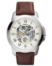 Fossil Grant Automatic Leather Strap Watch 44mm