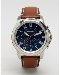 Fossil Grant Fs5210 Leather Watch In Tan