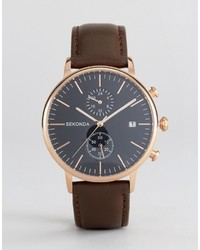 Sekonda Leather Chronograph Watch In Brownrose Gold
