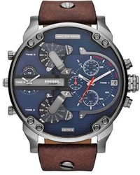 Diesel Mr Daddy 20 Chronograph Leather Strap Watch 57mm