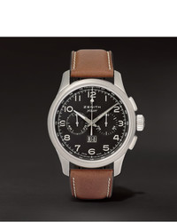 Pilot 44mm stainless steel and leather watch medium 358479