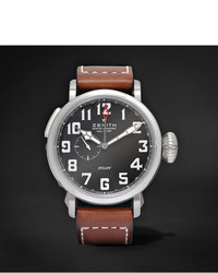 Zenith Pilot Type 20 Gmt 48mm Stainless Steel And Leather Watch
