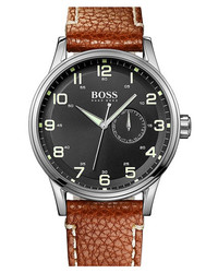BOSS HUGO BOSS Round Leather Strap Watch 44mm Brown