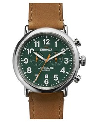 Shinola The Runwell Chrono Leather Strap Watch 47mm Brown Green