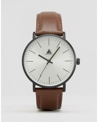 Asos Watch With Leather Strap In Brown