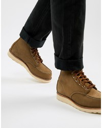 Red Wing 6 Inch Classic Moc Toe Boots In Olive Suede