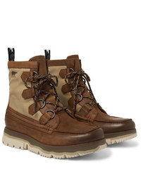 Sorel Atlis Caribou Waterproof Leather And Canvas Boots