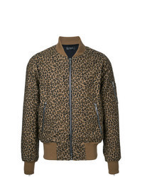 Brown Leopard Bomber Jacket