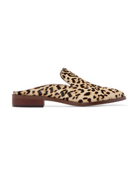 Brown Leopard Calf Hair Loafers