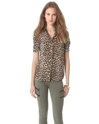 Brown Leopard Chiffon Button Down Blouse