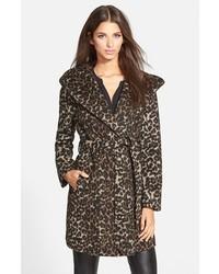Leopard print hooded wrap coat medium 335296