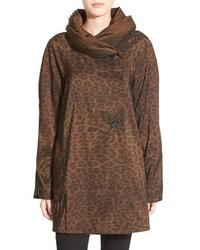 Mini donatella leopard reversible pleat hood packable travel coat medium 517070