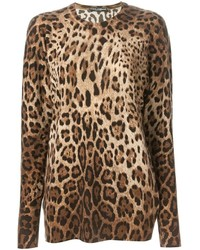 Brown Leopard Crew-neck Sweater