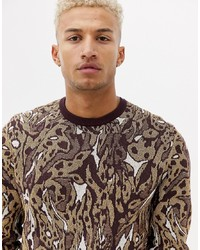 ASOS DESIGN Knitted Jumper With Leopard Design In Metallic Yarn