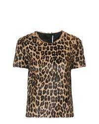Brown Leopard Crew-neck T-shirt