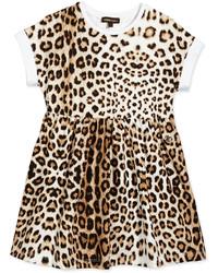 Roberto Cavalli Leopard Print Jersey Dress Tan Size 2 6