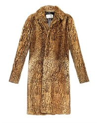 Saint Laurent Single Breasted Animal Print Fur Coat