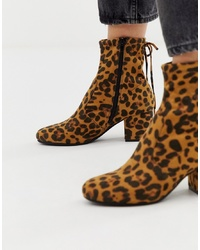 Head over Heels by Dune Head Over Heels Oakley Heeled Ankle Boots In Leopard