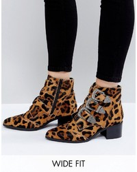 Relieve wide fit leopard buckle leather ankle boots medium 4420136