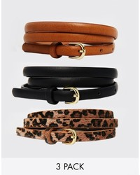 Collection leopard hip and waist belt in 3 pack medium 197139