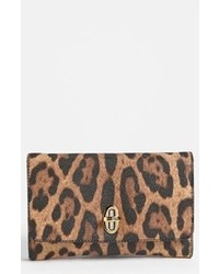 Brown Leopard Leather Clutch