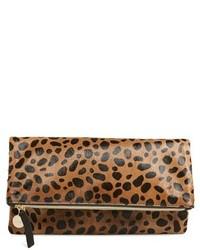 Clare v genuine calf hair leopard print foldover clutch medium 420676