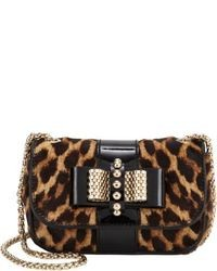 Brown Leopard Leather Crossbody Bag