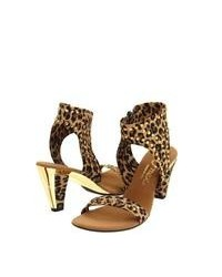 Brown Leopard Leather Heeled Sandals