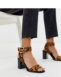 58d36ad65996 Raid Wide Fit Enya Leopard Print Patent Block Heeled Sandals £17 £29 ·  River Island Block Heeled Sandals With In Leopard Print